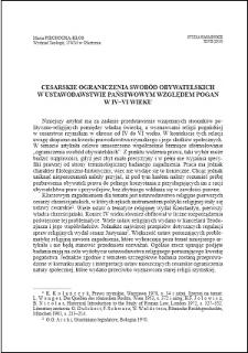 Cesarskie ograniczenia swobód obywatelskich w ustawodawstwie państwowym względem pogan w IV-VI wieku