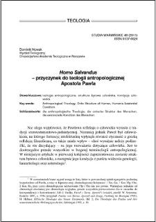 """""""Homo Salvandus"""" : przyczynek do teologii antropologicznej Apostoła Pawła"""