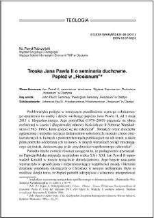 """Troska Jana Pawła II o seminaria duchowne : Papież w """"Hosianum"""""""