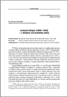 Justyna Dargel (1860-1926) : z dziejów warmińskiej sekty