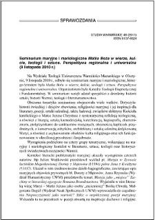"""Seminarium maryjne i mariologiczne """"Matka Boża w wierze, kulcie, teologii i sztuce. Perspektywa regionalna i uniwersalna"""" : (9 listopada 2010 r.)"""