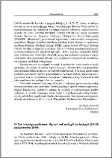 """XI Dni Interdyscyplinarne, """"Rytuał : od etologii do teologii"""" : (25-26 października 2010)"""
