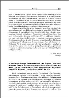 S. Ambrozja Jadwiga Kalinowska, Rok jubileuszowy 75-lecia śmierci Założycielki Matki Jadwigi Józefy Kuleszy OSB w Zgromadzeniu Sióstr Benedyktynek Misjonarek 2006/2007 : [recenzja]