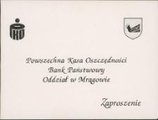Zaproszenie na uroczyste otwarcie nowej siedziby PKO BP w Mrągowie 1994