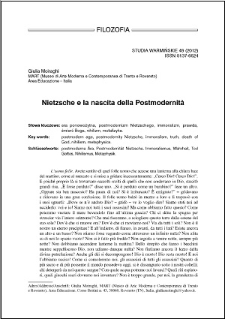 Nietzsche e la nascita della Postmodernità