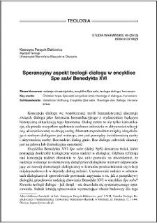 """Sperancyjny aspekt teologii dialogu w encyklice """"Spe salvi"""" Benedykta XVI"""