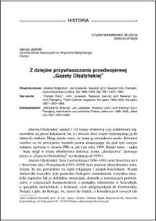 """Z dziejów przywłaszczania przedwojennej """"Gazety Olsztyńskiej"""""""