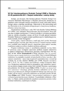 """XII Dni Interdyscyplinarne Wydziału Teologii UWM w Olsztynie, 24-25 października 2011 : """"Rozpad małżeństwa i rodziny dzisiaj"""""""