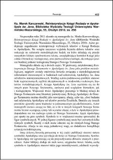 Ks. Marek Karczewski, Reinterpretacja Księgi Rodzaju w Apokalipsie św. Jana : [recenzja]