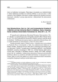 Hesi Siimets-Gross, Das Liv-, Est- und Curlaendische Privatrecht (1864/65) und das römische Recht im Baltikum : [recenzja]