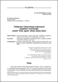 Teistyczna interpretacja wybranych aspektów kosmologii : Józefa Turka ujęcie relacji nauka–wiara