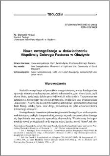 Nowa ewangelizacja w doświadczeniu Wspólnoty Dobrego Pasterza w Olsztynie