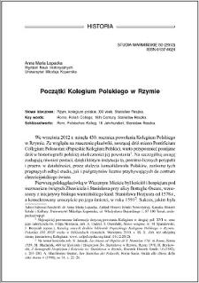 Początki Kolegium Polskiego w Rzymie