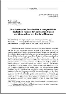Die Spuren des Pruzzischen in ausgewählten deutschen Namen der polnischen Flüsse und Ortschaften von Ermland-Masuren