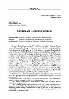Konisski and peripatetic orthodox