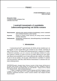 I contratti innominati e il cosiddetto Lebensrettungsvertrag nel diritto romano