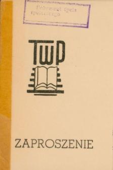 Zaproszenie na walne zebranie sprawozdawczo-wyborcze TWP 1972