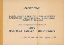 Zaproszenie na Dzień Działacza Kultury i Bibliotekarza 1967