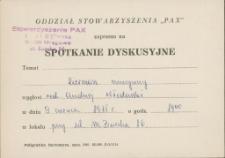 """Zaproszenie na spotkanie dyskusyjne Stowarzyszenia """"Pax"""" 1975"""