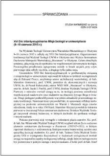 """XVI Dni Interdyscyplinarne """"Misja teologii w uniwersytecie"""" (9–10 czerwca 2015 r.)"""