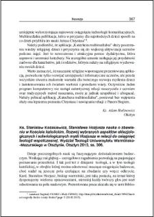 Ks. Stanisław Kozakiewicz, Stanisława Hozjusza nauka o zbawieniu w Kościele katolickim : [recenzja]