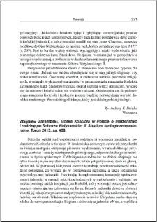 Zbigniew Zarembski, Troska Kościoła w Polsce o małżeństwo i rodzinę po Soborze Watykańskim II. Studium teologiczno pastoralne : [recenzja]