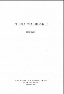 Studia Warmińskie T. 18 (1981) - cały numer