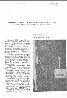 Wystawa o ks. Walentym Barczewskim (1856-1928) w pięćdziesiątą rocznicę jego śmierci