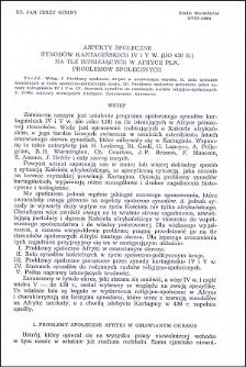 Aspekty społeczne synodów kartagińskich IV i V w. (do 430 r.) na tle istniejących w Afryce Płn. problemów społecznych
