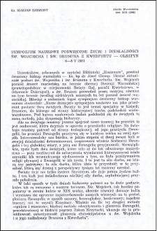 Sympozjum naukowe poświęcone życiu i działalności św. Wojciecha i św. Brunona z Kwerfurtu - Olsztyn 6-8 V 1981