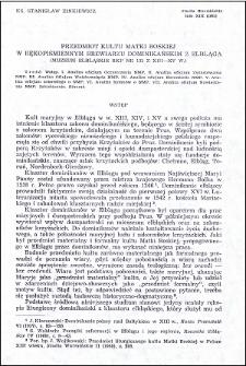 Przedmiot kultu Matki Boskiej w rękopiśmiennym brewiarzu dominikańskim z Elbląga : (Muzeum Elbląskie Rkp nr 132 z XIII-XV w.)