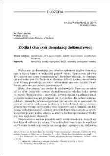 Źródła i charakter demokracji deliberatywnej