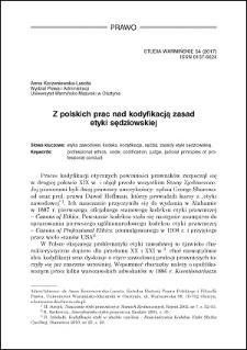 Z polskich prac nad kodyfikacją zasad etyki sędziowskiej
