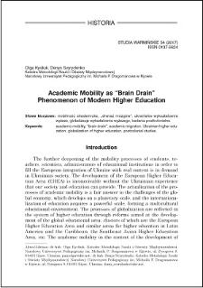 "Academic mobility as ""brain drain"" phenomenon of modern higher education"