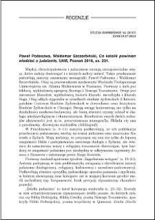 Paweł Podeszwa, Waldemar Szczebiński, Co katolik powinien wiedzieć o judaizmie : [recenzja]