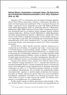 Relinde Meiwes, Klosterleben in bewegten Zeiten. Die Geschichte der ermlӓndischen Katharinenschwestern (1914-1962) : [recenzja]