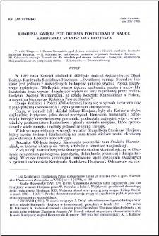 Komunia święta pod dwiema postaciami w nauce kardynała Stanisława Hozjusza