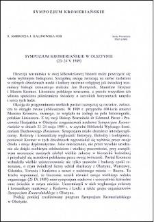 Sympozjum Kromeriańskie w Olsztynie (23-24 V 1989)