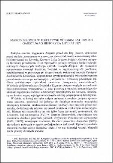 Marcin Kromer w poselstwie morskim lat 1560-1571 : garść uwag historyka literatury