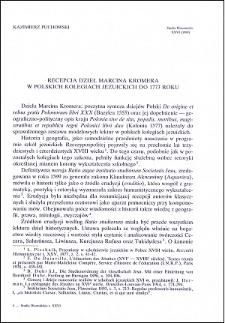 Recepcja dzieł Marcina Kromera w polskich kolegiach jezuickich do 1773 roku