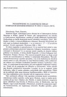 Przemówienie na zamknięcie obrad Sympozjum Kromeriańskiego w dniu 24 maja 1989 r.