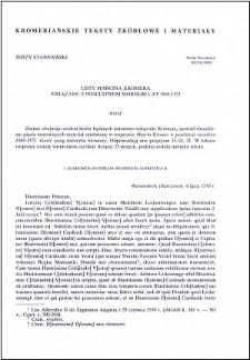 Listy Marcina Kromera związane z poselstwem morskim lat 1569-1571