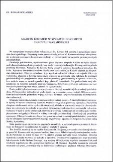 Marcin Kromer w sprawie egzempcji Diecezji Warmińskiej