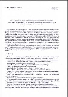 """Sprawozdanie z Sesji Naukowych Rady Pedagogicznej Wyższego Warmińskiego Seminarium Duchownego """"Hosianum"""" w Olsztynie za okres 1987-1989"""