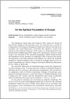 On the spiritual foundation on Europe