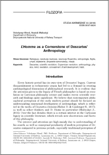 """""""L'Homme"""" as a cornerstone of Descartes' anthropology"""