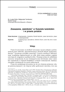 """Zrzeszenia """"katolickie"""" w Kościele katolickim i w prawie polskim"""