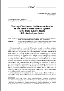 The legal tradition of the Ukrainian people as the basis of state-political system in the state-building ideals of Rostyslav Lashchenko