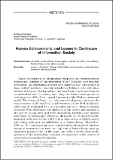 Human achievements and losses in continuum of information society