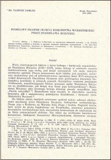 Podstawy prawne objęcia biskupstwa warmińskiego przez Stanisława Hozjusza